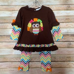 Rare Editions Thanksgiving Fall Owl - Size 3T